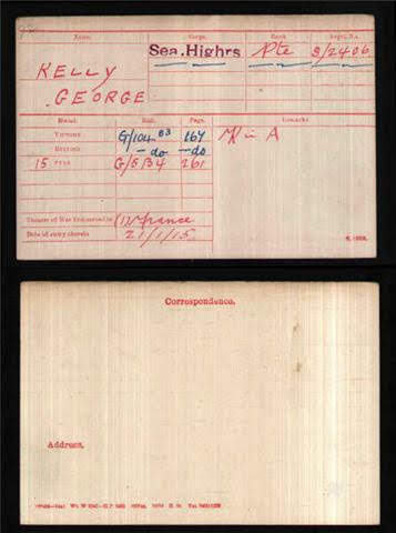 George Kelly's Medal Index Card