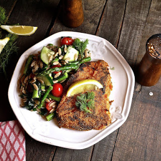 Cornmeal Crusted Trigger Fish with Dilly Farro Salad Recipe