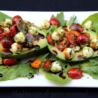 Caprese Stuffed Avocado.