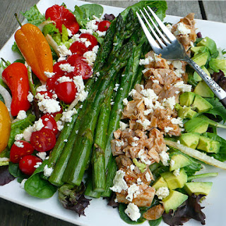 Roasted Pepper & Asparagus Salad with Chicken, Feta & Avocado.