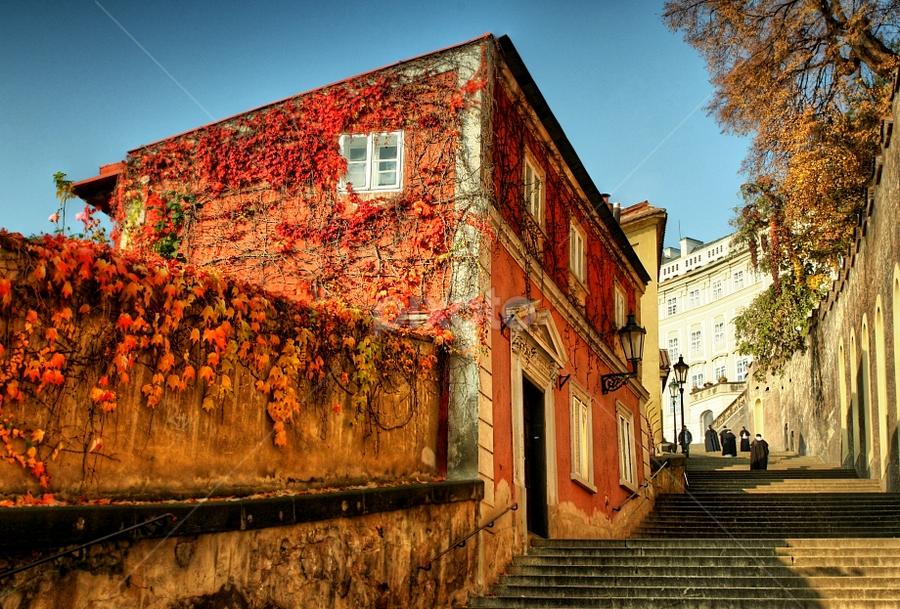 by Irena Brozova - City,  Street & Park  Historic Districts ( stairs, monks, prague )