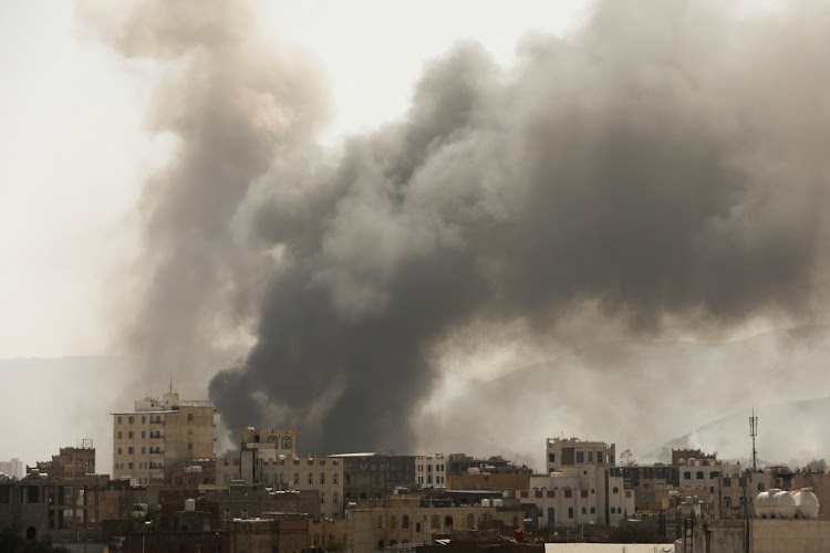 Smoke billows from the site of Saudi-led air strikes in Sanaa, Yeme, in this March 7 2021 file photo. Picture: REUTERS/KHALED ABDULLAH
