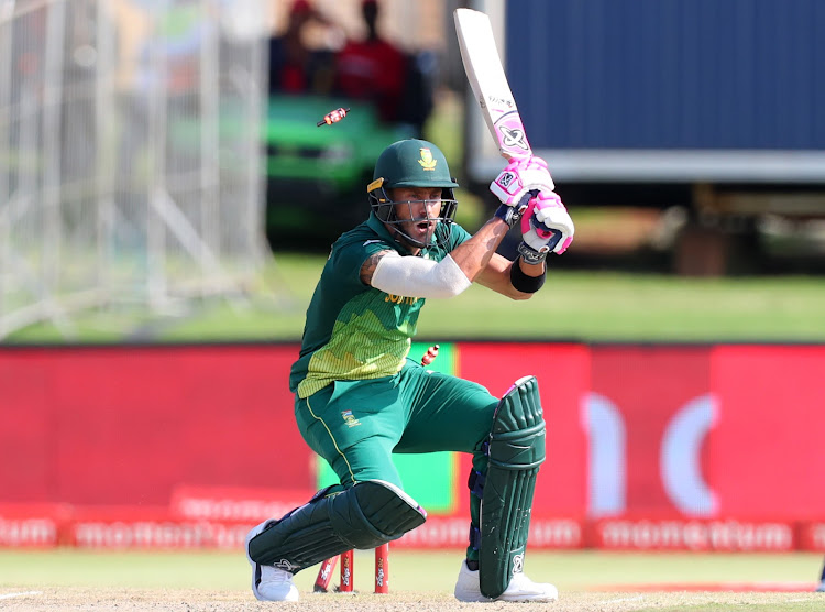 Faf du Plessis is bowled out during the third ODI match against Sri Lanka.
