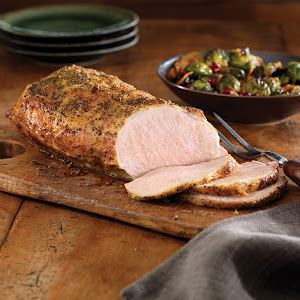 Pork Roast with Bacon, Brussels Sprouts and Pomegranate