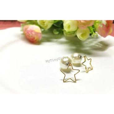 [現貨]✨星星珍珠前後耳環⭐️HK$88 前面波波款見得多,星星款係店主辛苦搵黎🙈 後面加埋珍珠,不失斯文😊