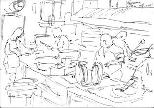 Photo: 忙碌的廚房2011.01.29鋼筆 員工餐廳裡收容人忙著做菜,為了捕捉畫面,我的筆也忙了起來…