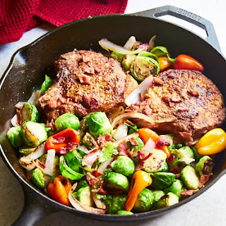 Thick Crust Pan-Fried Pork Chops with Brussels Sprouts