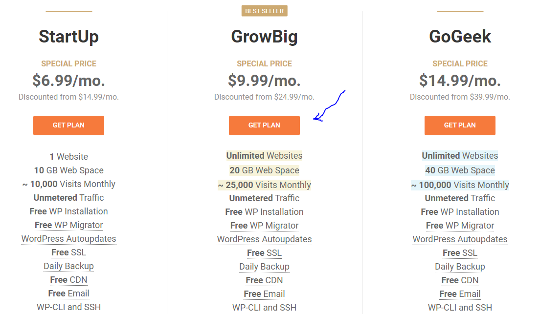 GrowBig web hosting pack on SiteGround