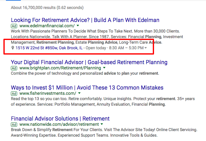 Google Ads extensions: location and call