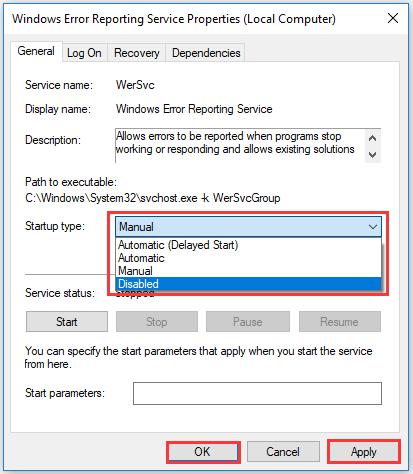 set Start type as Disabled