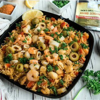 Low FODMAP One Pot Adobo Seafood Paella.