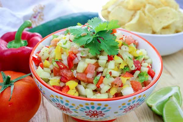 A Bowl Of Brother Ron's Fresh Marinated Salsa.