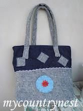 Photo: tote bag in denim e tela melange