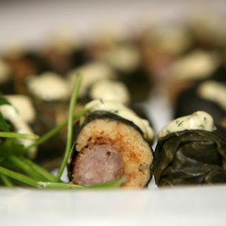 Collard-Wrapped Sausage Corn Dogs
