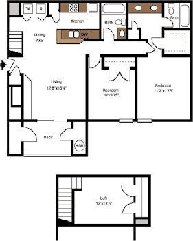 Go to Two Bedroom Loft Floorplan page.