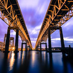 Under the Bridge by Matthew Robertson - Buildings & Architecture Bridges & Suspended Structures ( water, connecticut, sunset, long exposure, bridge, city,  )