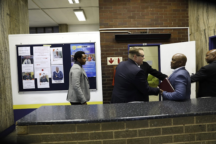 Duduzane Zuma arrives at the Johannesburg Central police station on July 9, 2018.