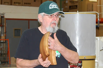 Photo: Ed Karch shows the finished bowl that he brought in for Jigs and Tools demo last month.