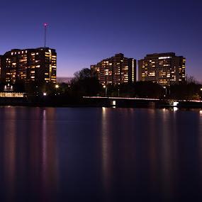 Reflection after sunset. by Kamran Hameed - City,  Street & Park  City Parks ( kamran hameed, khphotography, london, canada, sunset, ottawa, night, ontario, kamran, hameed, photo, photography )