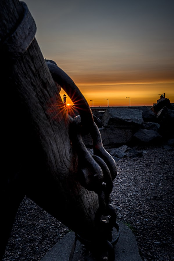 Link by Glen Sande - City,  Street & Park  City Parks ( nikond700, mn, duluth, beaches, canal park, lighthouse, sunrise, morning, anchor )