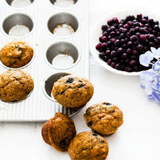 Freezer Friendly Apple Vanilla and Blueberry Mini Muffins.
