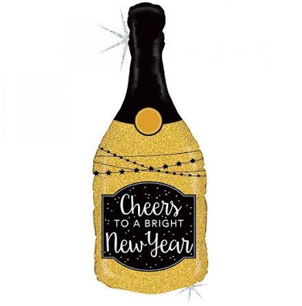 Folieballong Cheers new year, champagneflaska