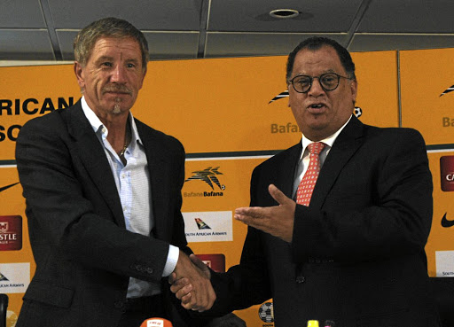 Baxter's back: New Bafana coach Stuart Baxter, left, was introduced to the media by Safa president Danny Jordaan in Johannesburg on Monday. It is Baxter's second spell with the national football team. Picture: SYDNEY MAHLANGU/BACKPAGE PIX