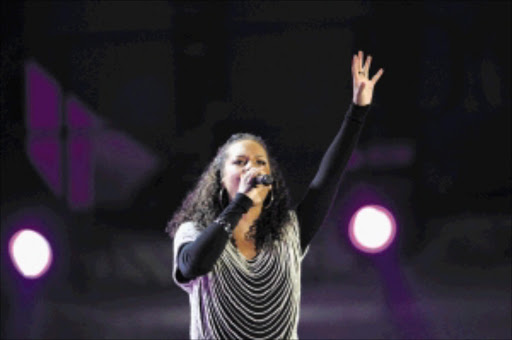 SENSATION: Alicia Keys performing at the Fifa Kickoff Celebration concert at Orlando Stadium in Soweto. Pic. Veli Nhlapo. 111/06/2010. © Sowetan.