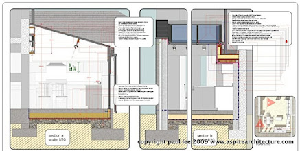 Photo: Architectural section details: Extension to dwelling in Rochestown, County Cork, Ireland. The project was carried out entirely in SketchUp Pro/ LayOut