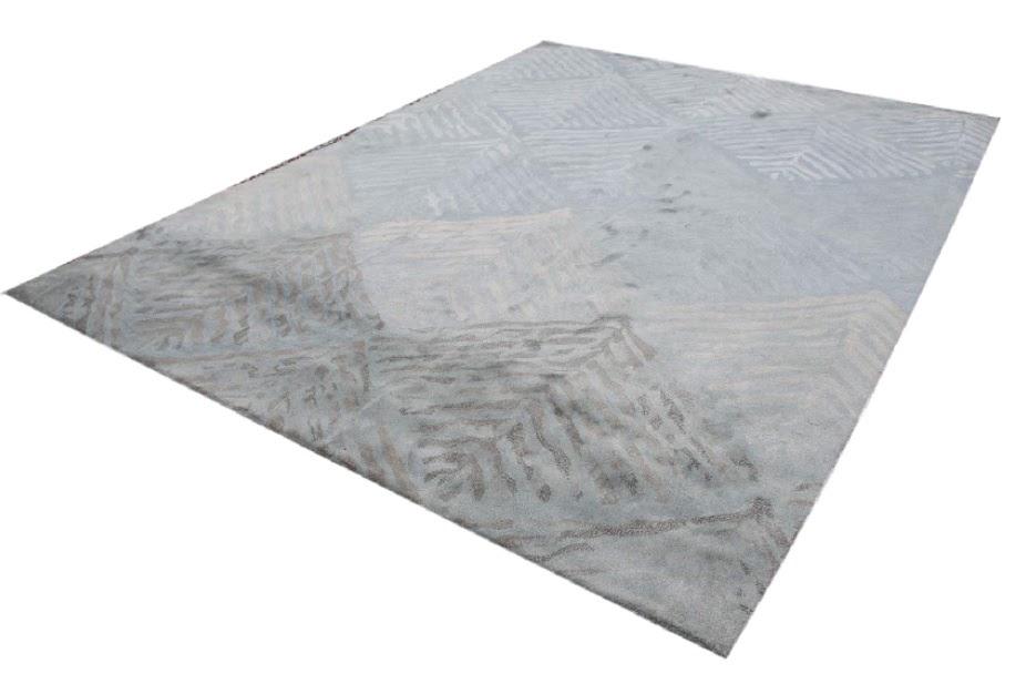 dywan tafting 100% wełna z Indii cieniowany kolor niebieski 270x360cm wielki