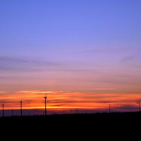 North Dakota sunset by Katelynn Nielsen - Landscapes Sunsets & Sunrises ( nature, sunset, plains, skies, windmill )