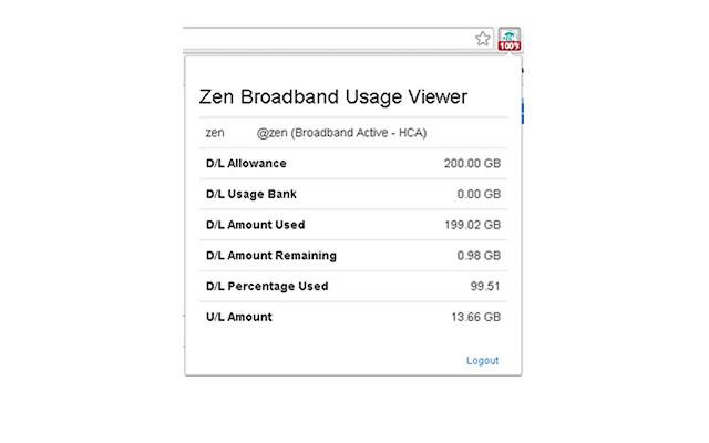 Zen Broadband Usage Viewer