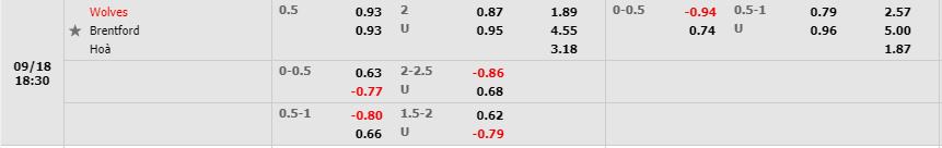 Tỷ lệ kèo Wolverhampton vs Brentford theo nhà cái W88