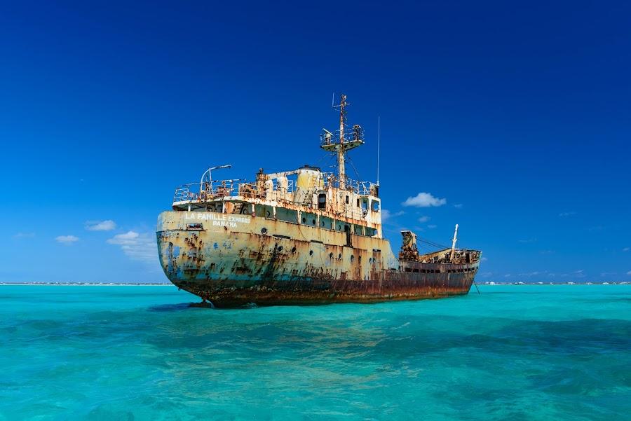Abandoned Russian Ship by Mauricio Fernandez - Transportation Boats ( russian, ship, caicos, turks, and, abandoned,  )