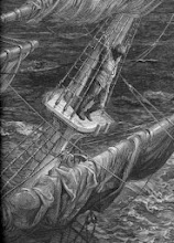 """Photo: Ο Τρελώνυ δεμένος στο κατάρτι  `[Gustave Doré - wood engraving from """"The Rime of the Ancient Mariner""""}"""