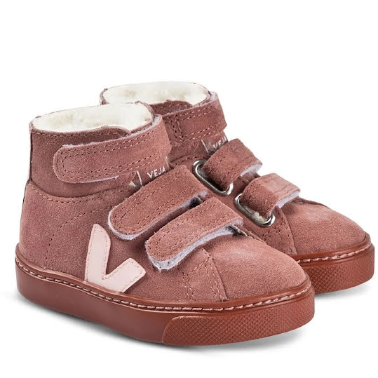 VEJA Esplar Mid Fured Leather Sneakers Rosa Mocka Stl, 30
