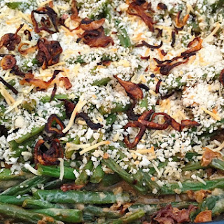 Green Bean Bacon Casserole with Fried Shallots.