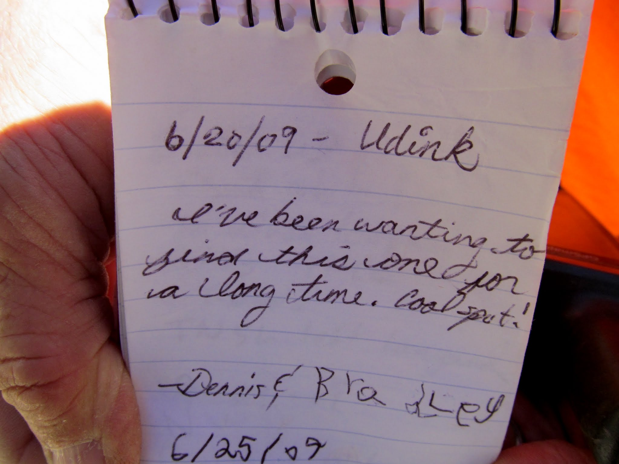 Photo: Geocache log signed by Bradley and me eight years ago
