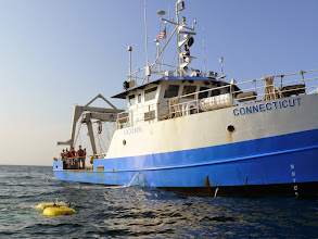 Photo: Launching of the Kraken2 ROV from the R/V Connecticut (Image courtesy of Gulf of Maine Deep Sea Coral Science Team 2014/NURTEC-UConn/NOAA Fisheries/UMaine)