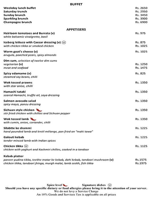Threesixtyone Degrees, The Oberoi menu 19