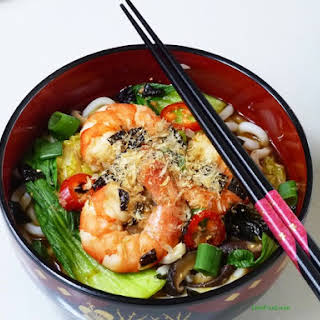 Miso Soup with Prawns and Udon Noodles.