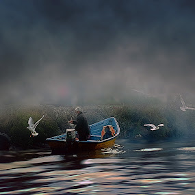 fisherman by Fereshteh Molavi - People Street & Candids ( haz, man, birds, water, boat )