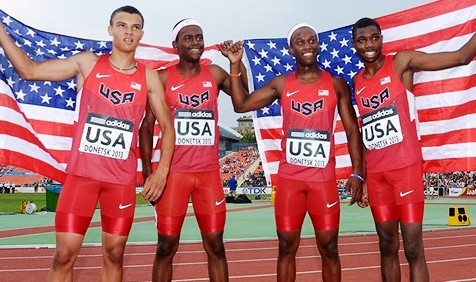 Team USA Silver Medal-winning SMR team members Taylor McLaughlin, Ryan Clark, Jaalen Jones, and Noah Lyles. Photo by Kirby Lee, Image of Sport.