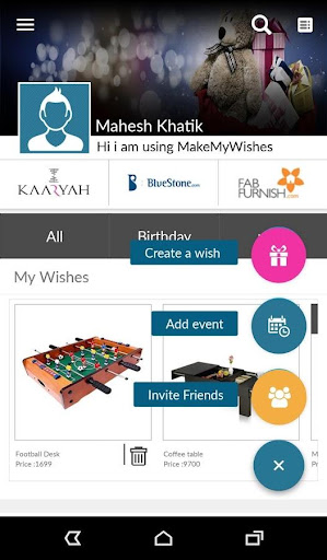 MakeMyWishes - Social Gift Registry 1.4.3 screenshots 3