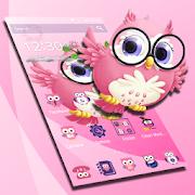 Tema rosa bonito da coruja