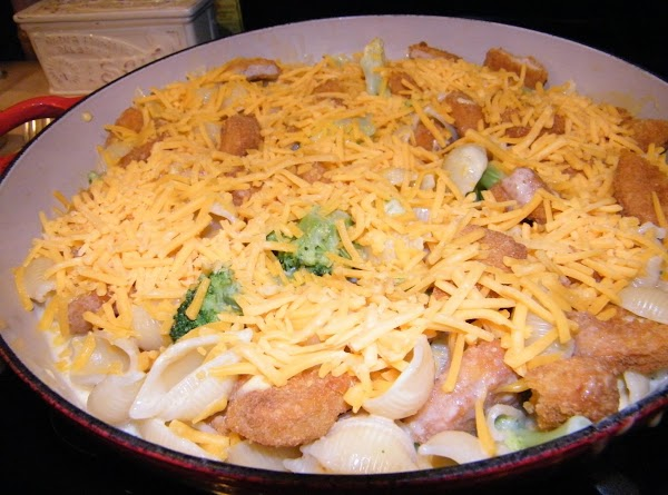 Add cooked pasta and broccoil to the skillet and combine with chicken, soup and...