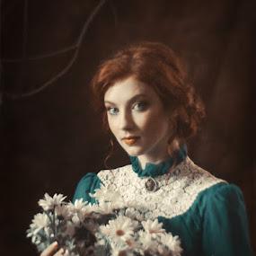 *** by Valentyn Kolesnyk - People Portraits of Women ( vintage, woman, flowers, light, classic, portrait )