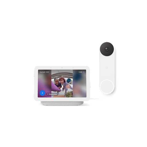 A Nest Hub with footage from outside and a Nest Doorbell.
