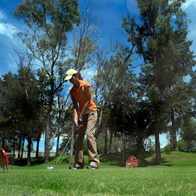 Driving by Cristobal Garciaferro Rubio - Sports & Fitness Golf ( champion, golf course, ball, drive, driving, lady, golf )