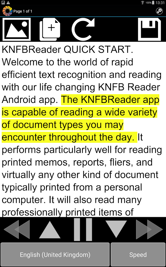 KNFB Reader Enterprise- screenshot